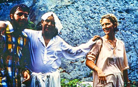 Ramloti with Babaji (center) and unidentified man in India in 1982.