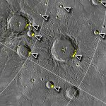 Recent radar images of Mercury from the space craft Messenger. The bright radar reflections from inside of craters appear to indicate ancient water. Ice is present in those portions of the craters that are always in shadow. The large crater in the center is named for the photographer Alfred Stieglitz, husband of Georgia O'Keeffe.   Arrows were added as enhancement by The Crestone Eagle to better show reflective areas in craters.